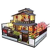 ZHBB Nueva Arquitectura japonesa DIY casas de muñecas de madera con Sakura montado en miniatura con muebles casa de muñecas juguetes para regalo de adulto