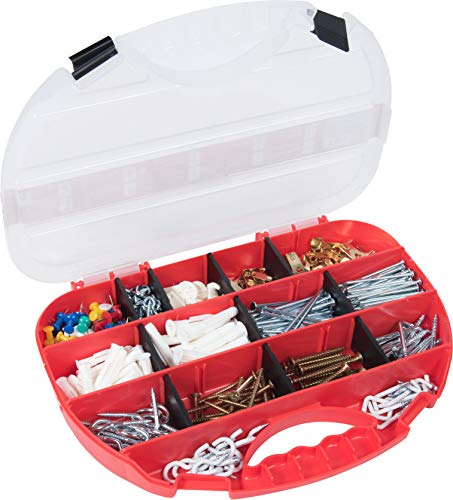 Connex Haushalts-Sortiment 470-teilig - Wandhaken, Nägel, Pinnwandnadeln & Co. - Vorsortiert in praktischer Kunststoffbox - Universell einsetzbar / Sortimentskasten / Sortimentsbox / DP8500088
