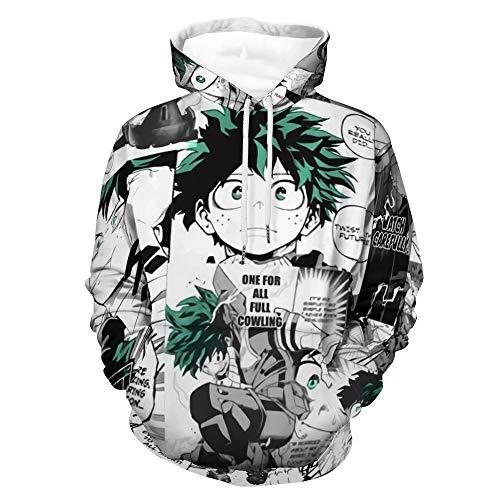 Einson My Hero Academia Deku Manga Collage Anime Hoodie Pullovers 2021 Spring Cosplay Women Men Sweatshirt Tops White-style1 M