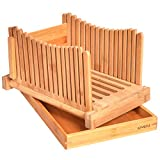 Kinwell Nature Bamboo Foldable Bread Slicer with Crumb Catcher Tray +...