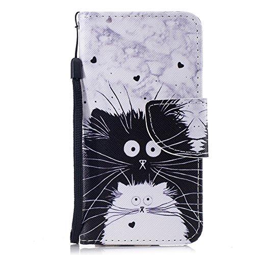 """Hülle für iPhone 6 Plus,iPhone 6S Plus Flip Case,FNBK Leder Hülle Schutzhülle Tasche Brieftasche Wallet Klapphülle Stand Magnetverschluss HandyHülle für iPhone 6 Plus/6S Plus 5.5\"""",Schwarz Weiß Katze"""