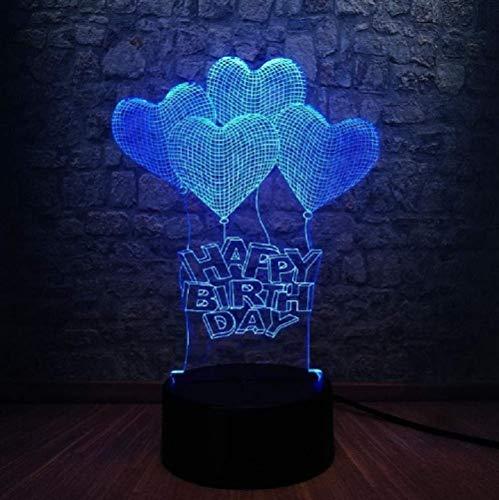 Happy Birthday Love Romantic hart ballon 3D LED lamp USB huis decoratie huwelijk geschenk kleurrijk nachtlampje