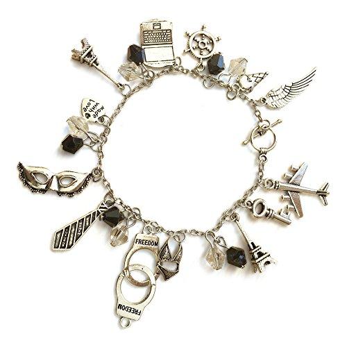Orion Creations 50 Shades of Grey inspiriert Freiheit Silber Ton Charme Armband mit Schwarz und Klar Perlen