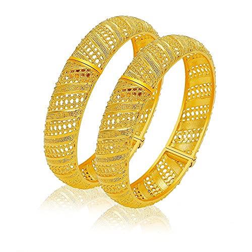 2 unids / lote, brazalete Simple de moda, joyería india, Color dorado, brazalete tradicional de novia, conjunto de brazaletes MY43