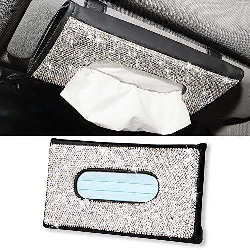 Aphbrada Bling Car Sun Visor Tissue Box Holder, Rhinestone Face Mask Dispenser Holder for Car, Crystal Sparkling Napkin Holder Car Interior Accessories Gift for Women Girls (Black)