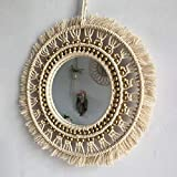 HOBIRD Espejo de Pared Colgante Mimbre Rattan Boho Chic Espejo Decorativo de Estilo nórdico Macrame Redondo para el hogar Salón Dormitorio Pasillo, Color Natural, 27 cm