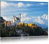 Pixxprint Schloss Neuschwanstein Herbst als Leinwandbild | Größe: 120x80 cm | Wandbild | Kunstdruck | fertig bespannt