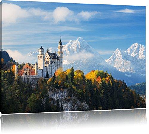 Pixxprint Schloss Neuschwanstein Herbst als Leinwandbild | Größe: 100x70 cm | Wandbild | Kunstdruck | fertig bespannt