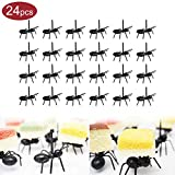 24PCS Ant Food Picks, Animal Fruit Food Toothpicks, Dessert Forks Picks (Black)
