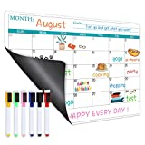 Magnetic Dry Erase Fridge Calendar - Magnetic Calendar for Refrigerator Planner, Fridge Magnetic Calendar with Six Markers, Kitchen Fridge Calendar White Board in Monthly & Weekly Set, 11.8' x 17'