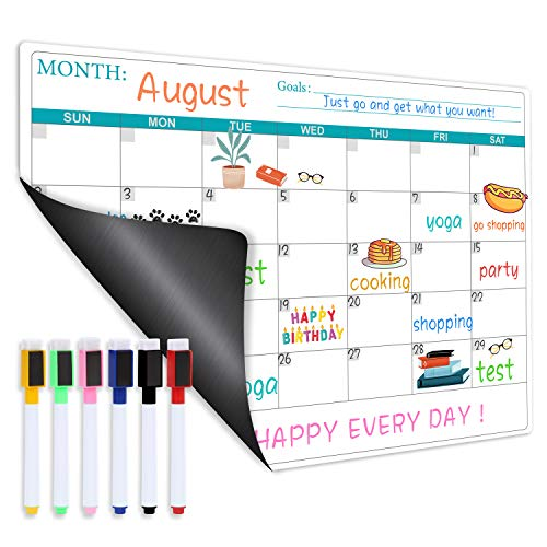 Magnetic Dry Erase Fridge Calendar - Magnetic Calendar for Refrigerator Planner, Fridge Magnetic Calendar with Six Markers, Kitchen Fridge Calendar White Board in Monthly & Weekly Set, 11.8' x 17'
