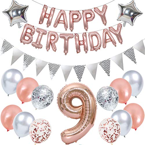 Ouceanwin 9th Birthday Decoration Rose Gold Children's Birthday Party Set, Giant Balloons Number 9, Foil Balloons Happy Birthday Banner, Bunting Banner Silver, 9 Years Birthday Decoration for Girls