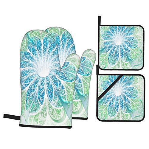 Juego de 4 Guantes y Porta ollas para Horno Resistentes al Calor Obra de Arte Digital de Flor Fractal Azul Claro para Hornear en la Cocina,microondas,Barbacoa
