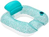 Brandsseller Sillón de natación Relax para piscina, tumbona hinchable con soporte para bebidas, color verde