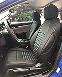 EKR Custom Car Seat Covers for Select Honda Civic Sedan 2016 2017 2018 2019 2020 2021 (Rear Row Solid Folding Backrest) - Leatherette (Black)