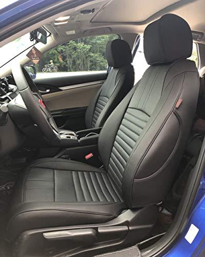 EKR Custom Car Seat Covers for Select Honda Civic Sedan 2016 2017 2018 2019 2020 (Rear Row Solid Folding Backrest) - Leatherette (Black)