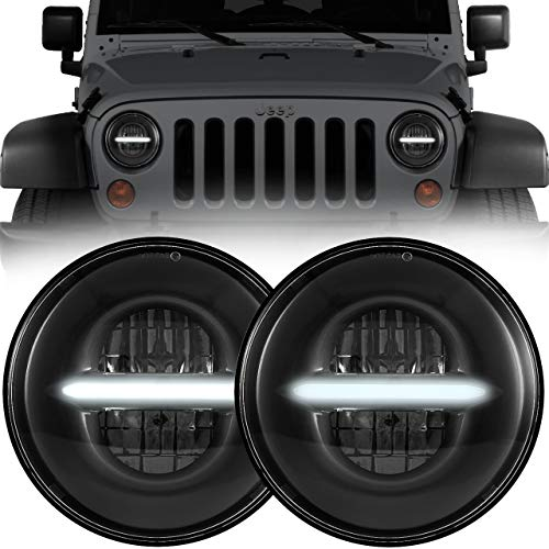 Eagle Lights Infinity Beam 7 inch Round Black LED Headlight Conversion Kit with White Daytime Running Light DRL for 1997-2018 Jeep Wrangler JK JKU TJ LJ with Anti-flicker Harnesses