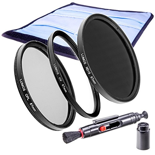 LUMOS Slim Filterset 67mm | ND Filter (ND16) Polfilter UV Schutzfilter Filtertasche | Zubehör Set für Kamera Objektiv Ø 67 mm