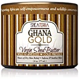 Shea Terra Organics 100% Organic Cold-Pressed Virgin Shea Butter - Ghana Gold | Natural Daily Skin Cream for Dry Skin, Itchy Skin, Stretch Marks, Psoriasis, Eczema & other skin conditions – 6 oz