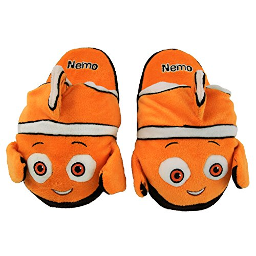 Stompeez Animated Nemo Plush Slippers - Ultra Soft and Fuzzy - Fins Flap and Flutter as You Walk - Medium Orange