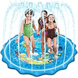 Mademax Upgraded 79' Splash Pad, Sprinkler & Splash Play Mat, Inflatable Summer Outdoor Sprinkler Pad Water Toys Fun for Children, Infants, Toddlers, Boys, Girls and Kids