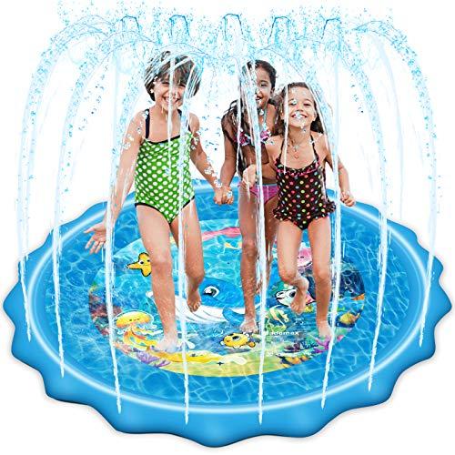 Mademax Upgraded 79' Splash Pad, Sprinkler & Splash Play Mat,...