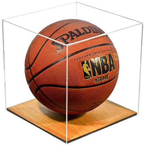 Better Display Cases Plexiglas Full Size Basketball Vitrine mit simuliertem Holzboden (A008-WB) Klar, Holzgestell
