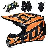 Casco Moto Niño, Casco Motocross Infantil y Adultos ECE & DOT Homologado Casco Enduro Integral con Guantes Gafas Máscara - para Hombre Mujer Trail MTB Quad BMX - con FOX Diseño, Negro Naranja Mate