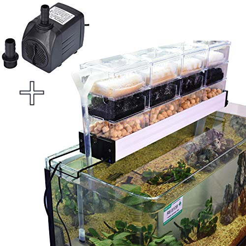 AE-SHOP KZKR Aquarium Filter Pump Set Fish Tank Upper Trickle Box Canister Filter System for 3.4-3.9 Feet Tank with 18 Clear Boxes