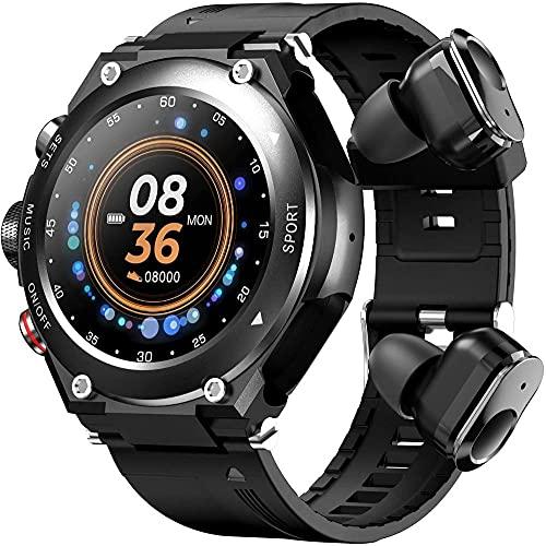 Reloj inteligente con auriculares TWS 1.3 pulgadas pantalla táctil completa smartwatch para hombres mujeres IP68 impermeable fitness Tracker-negro