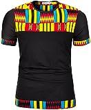 Shenbolen Men's African Print Shirt Short Sleeve Casual Dashiki Style T-Shirt Blouse Tops (Small, C)