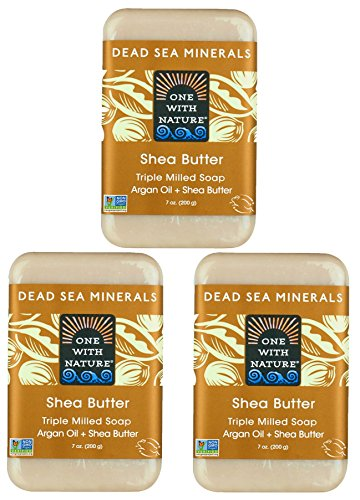 DEAD SEA Salt Shea Butter 7 oz SOAP 3 PK, Dead Sea Salt Includes Sulfur, Magnesium, and 21 Essential Minerals. All Skin Types, Problem Skin. Natural, Therapeutic, Natural Vanilla Scent.