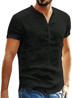 Men Short Sleeve Solid Tops, Male Baggy Cotton Linen T-shirt Summer Retro Button Blouse Shirt Tunic Tops