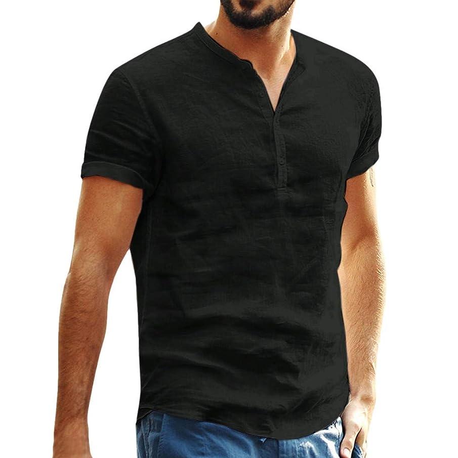 Mens Blouse Shirts, Men's Casual Baggy Short Sleeve Henley T-Shirts Cotton Linen Solid Color T Shirt Blouses Top