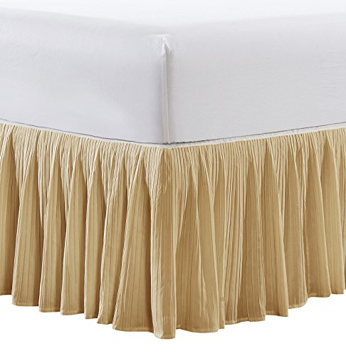 "Home Soft Things Pleated Bed Skirt, 60"" x 80"" + 18"", Marzipan"