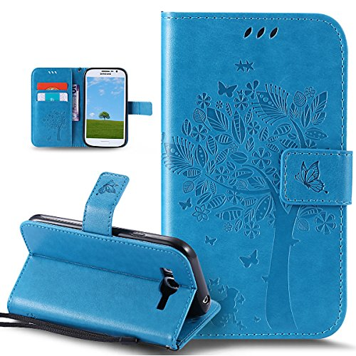 Funda Galaxy Grand Neo Galaxy Grand Plus/Grand Neo/Grand Lite,Mariposas de gato en relieve flores florales Cuero PU Fundas Carcasa Delgado Billetera Cartera Flip Stand Carcasa Case Cover,Azul