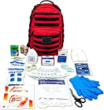 LINE2design Complete Molle Bag Kit - EMS Emergency Fully Stocked First Aid Trauma Backpack Kit - Advanced Safety Rescue Outdoor Medical Supplies - Perfect First Responder for Natural Disasters - Red
