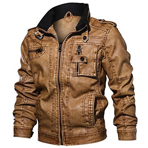 QOCE Herren Lederjacke Stehkragen PU Jacke Schäbiges Design Vintage Weich für Biker Motorrad Rocker Punk,Brown,6XL