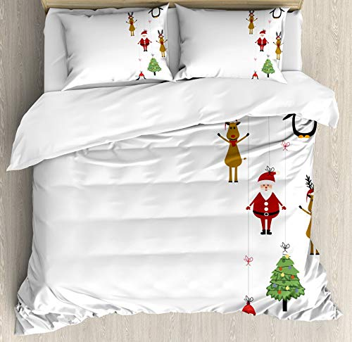 Christmas Double Bedding Duvet Cover 3 Piece, Reindeers Santa Claus Penguins and Xmas Tree Stripes Design, Luxury Soft Bedding Protects Comforter with 1 Comforter Cover And 2 Pillow Case, Brown Ruby