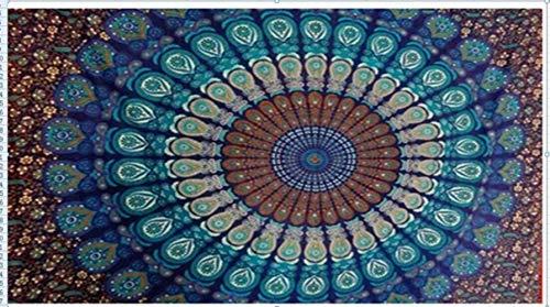 Huien Portable Mobile Inde Mandala Mousseline de Soie Tapisserie Tenture Murale Serviette de Plage 3 Couleurs 210x150cm, Bleu Marine
