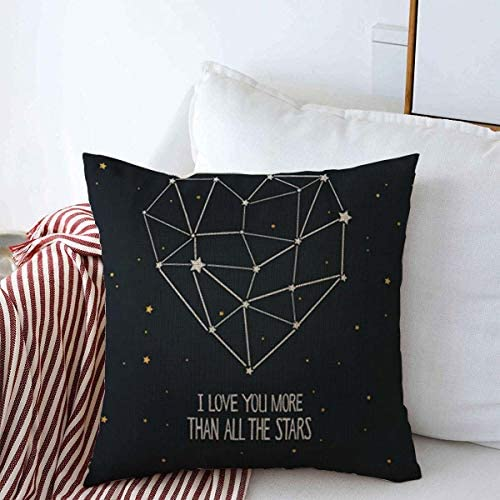 Throw Pillow Covers 18 x 18 Art I Love You More Than All Quot Stars Heart Hipster for Coloring product image
