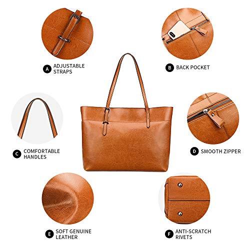 Kattee Vintage Genuine Leather Tote Shoulder Bag With Adjustable Handles (Orange)