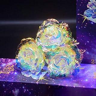 koiry 1 Piezas Galaxy Rosa con Amor Base Luminoso Rose Valentine de Las Madres Día - Mit Licht