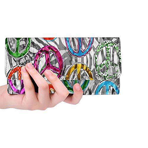 InterestPrint Women's Trifold Clutch Purses Peace Signs Zebra Card Holder Handbags
