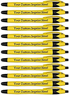 Rubberized Soft Touch Personalized Ink Pens with Stylus - Click action - Custom - Black writing - Printed Name - Imprinted with Your Logo/Message - FREE PERZONALIZATION - 12 Pens/Box (Yellow)