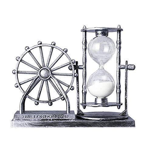 FFHADV Joyero vintage con rueda de ferra, reloj de arena de escritorio, exquisito cristal de arena para decoración en el hogar (color: plata, tamaño: 15,5 x 6,5 x 11,5 cm)