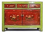Asien Lifestyle China Kommode restauriert,Sideboard grün,chinesischer Werkstatt