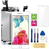 FLYLINKTECH Ecran LCD Vitre pour iPhone 6 Blanc avec Outils Bouton Home Écouteur Interne Caméra De Face et La Protection d'écran pour iPhone 6 Tout Assemblé