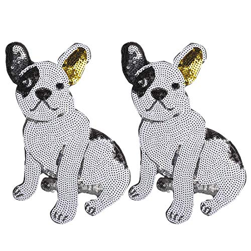 Candeon Puppy Patch-2pcs Puppy Lentejuelas Parche Hilo Coser Bordado Pegatina Decoración Accesorio de Ropa