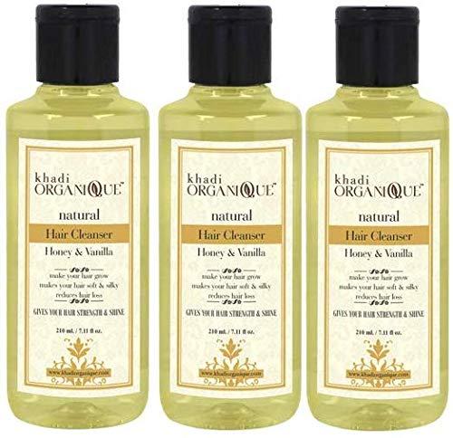 Glamorous Hub Khadi Organique - Limpiador de cabello con miel y vainilla (champú), paquete de 3 (el paquete puede variar)
